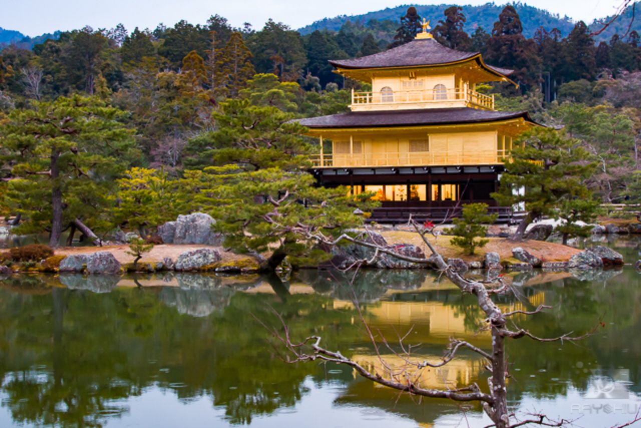 Golden Pavilion of Kyoto just before the rain.